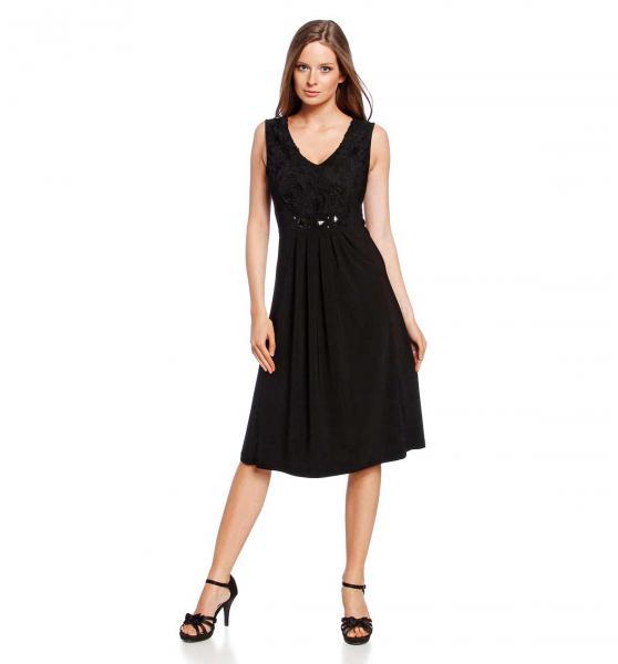 adidas Originals - Schwarzes Kleid mit Rundhalsausschnitt und Markenkleeblatt
