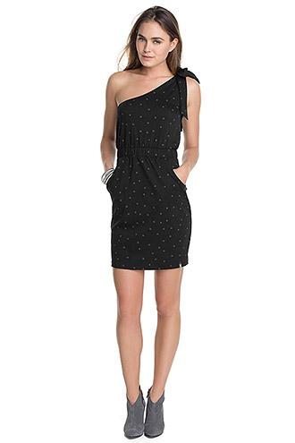 Esprit Cocktailkleid kurz schwarz gepunktet